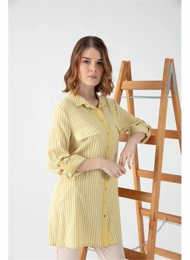 Desen Triko Gömlek Sarı